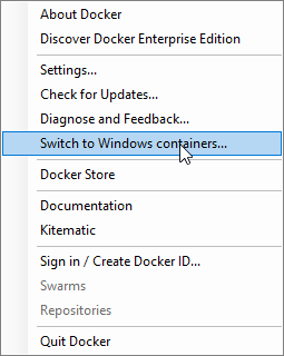Switch to Windows containers…